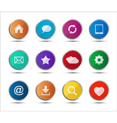 Set of colored navigation web icons on white vector image vector image