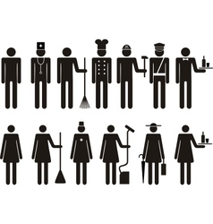 Set of icons of figure people job occupation vector image vector image