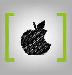 bite apple sign black scribble icon in vector image