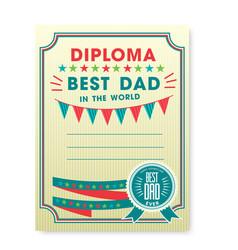 happy fathers day card vintage retro vector image