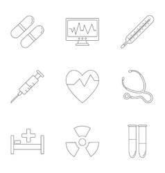 Medicine icons set outline style vector image