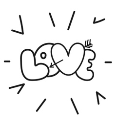 Valentines day hand lettering love letter vector image