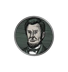 Victorian Gentleman Goatee Etching vector image vector image
