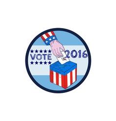 Vote 2016 Hand Ballot Box Circle Etching vector image