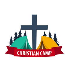 Christian summer camp evening camping cross vector