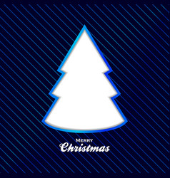 christmas blue background with cut out tree vector image vector image
