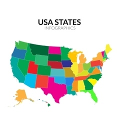 Colorful America USA map with states vector image