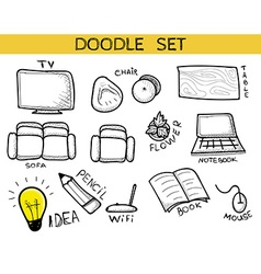 Doodle set of elements an interior handmade Sketch vector image