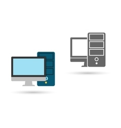 Monitor screen with pc icon flat vector image vector image