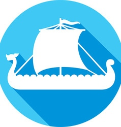 Viking Ship Icon vector image vector image
