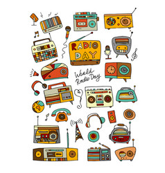 vintage radio set sketch for your design vector image