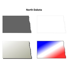 North Dakota outline map set vector image vector image