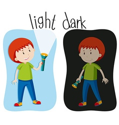 Opposite adjectives with light and dark vector image vector image