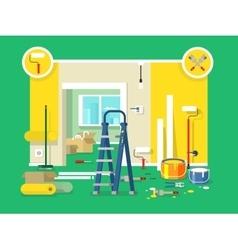 Renovation apartment flat design vector image vector image