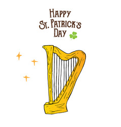 st patricks day hand drawn doodle celtic harp vector image vector image