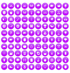 100 camping and nature icons set purple vector image