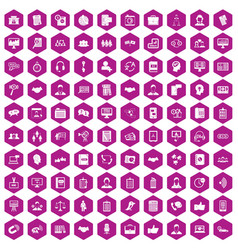 100 discussion icons hexagon violet vector