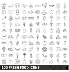 100 fresh food icons set outline style vector