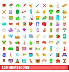 100 home icons set cartoon style vector