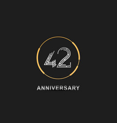 42 anniversary logotype with silver number vector
