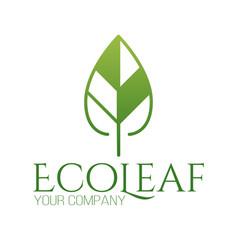 abstract green leaf logo icon design landscape vector image