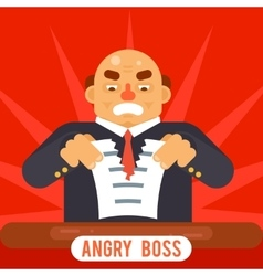 Angry Boss Tearing Sheet White Paper Contract vector