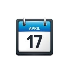 April 17 Calendar icon flat vector