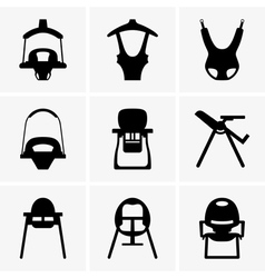 Baby walkers and chairs vector image