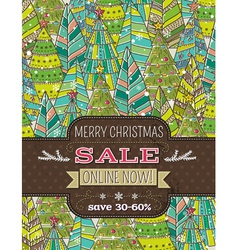 Background with christmas trees and label vector