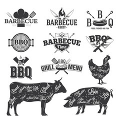 bbq emblems and logos vector image