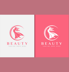 beauty women with dance pose logo design vector image