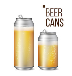 Beer cans isolated light bright bubble vector