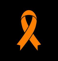 black awareness ribbon sign orange icon on black vector image
