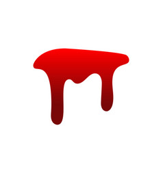 blood drip drop isolated white background vector image