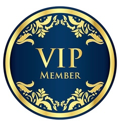 Blue VIP member badge with golden vintage pattern vector