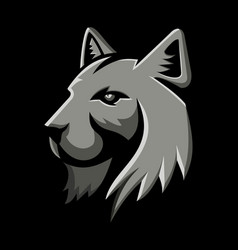 Bobcat head metallic icon vector