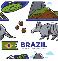 brazil travel destination seamless pattern vector image