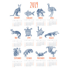 Calendar for 2019 with australian animals vector