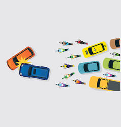 cars accident with traffic jam top or above view vector image