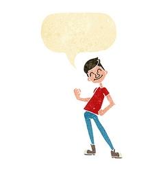 Cartoon celebrating man with speech bubble vector