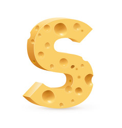 cheese font s letter on white vector image