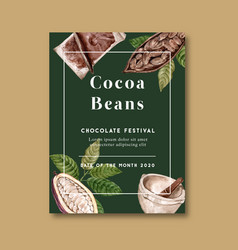 Chocolate poster design with ingredients branch vector