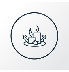christmas candles icon line symbol premium vector image