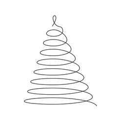 christmas tree thin black wired spiral in a shape vector image