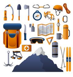 climbing equipment icon set cartoon style vector image