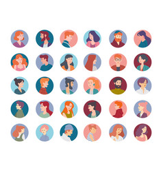 collection portraits male and female vector image