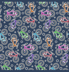 colorful bicycle stickers on dark blue pattern vector image