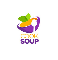 Cook soup logo template with image of cartoon vector