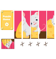 Cute mouse and chees puzzle for toddlers match vector