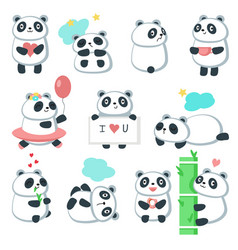 Cute panda icon set isolated vector